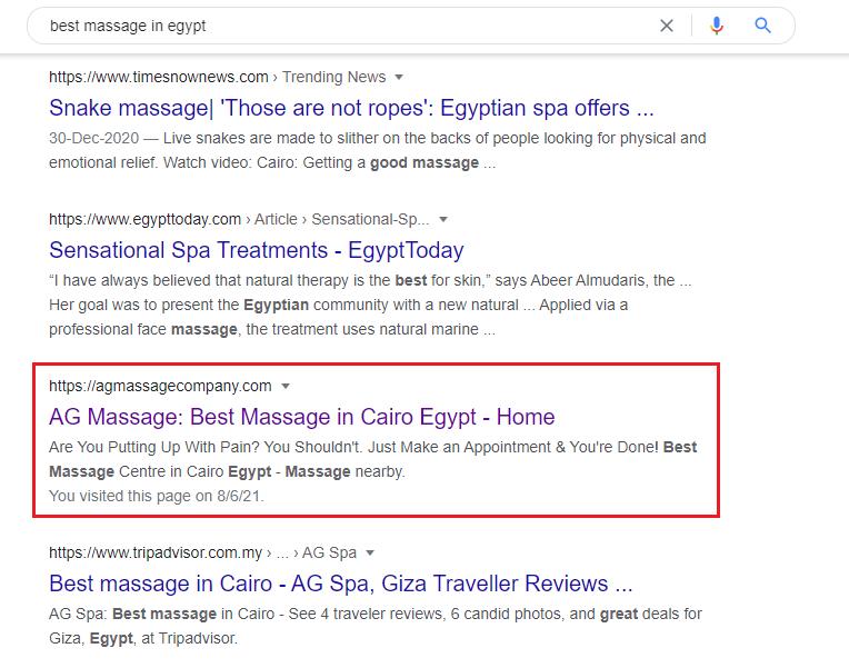 Case study SEO - AG Massage Centre Egypt