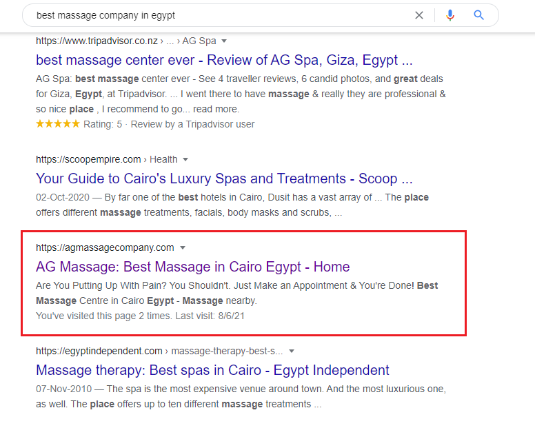 Case study SEO - AG Massage